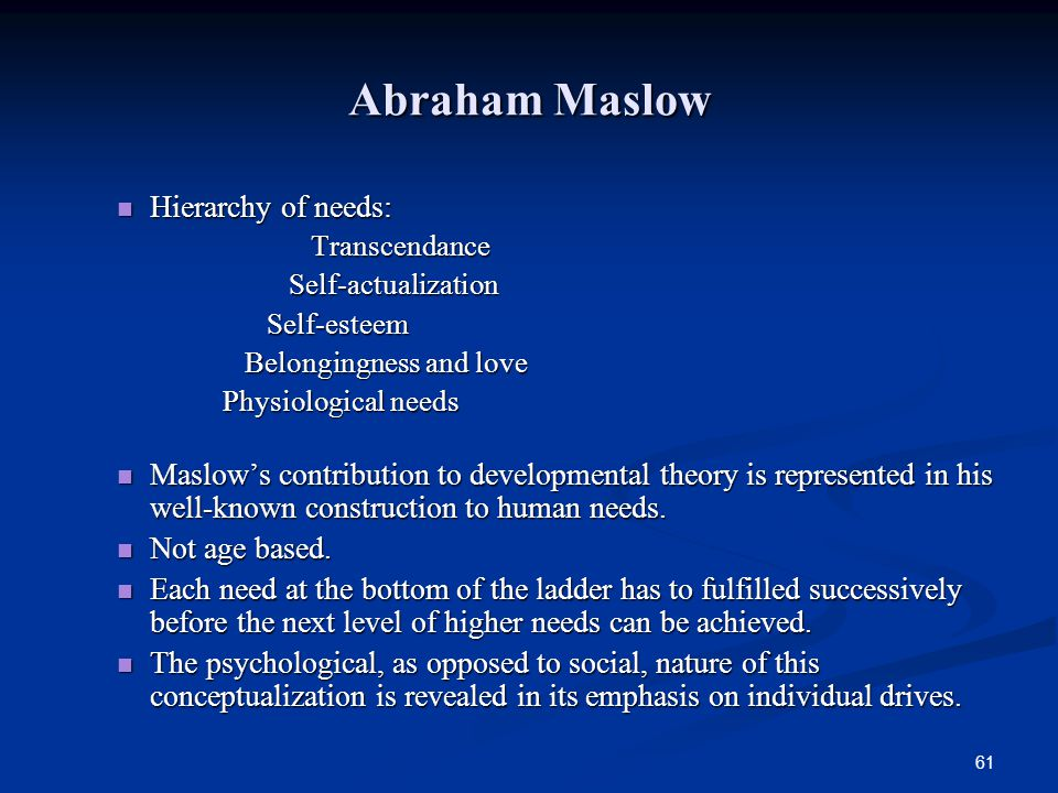 Abraham Maslow Hierarchy of needs: