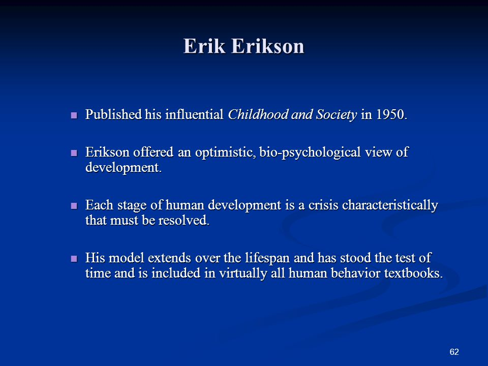 Erik Erikson Published his influential Childhood and Society in 1950.