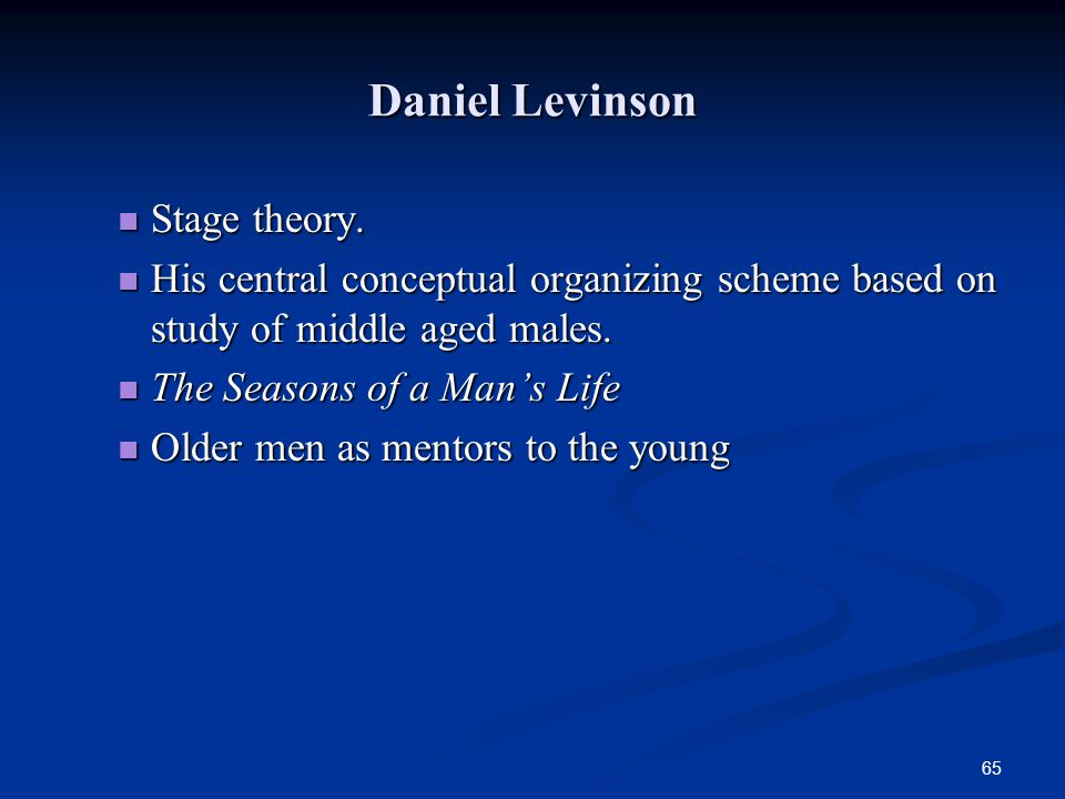 Daniel Levinson Stage theory.
