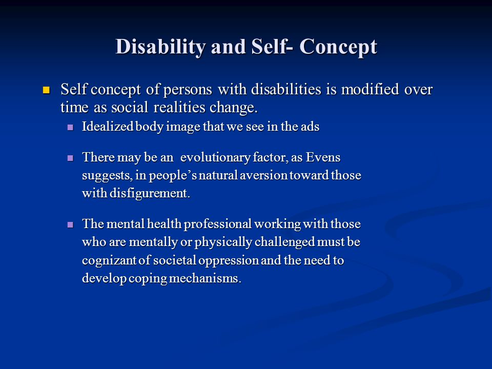 Disability and Self- Concept