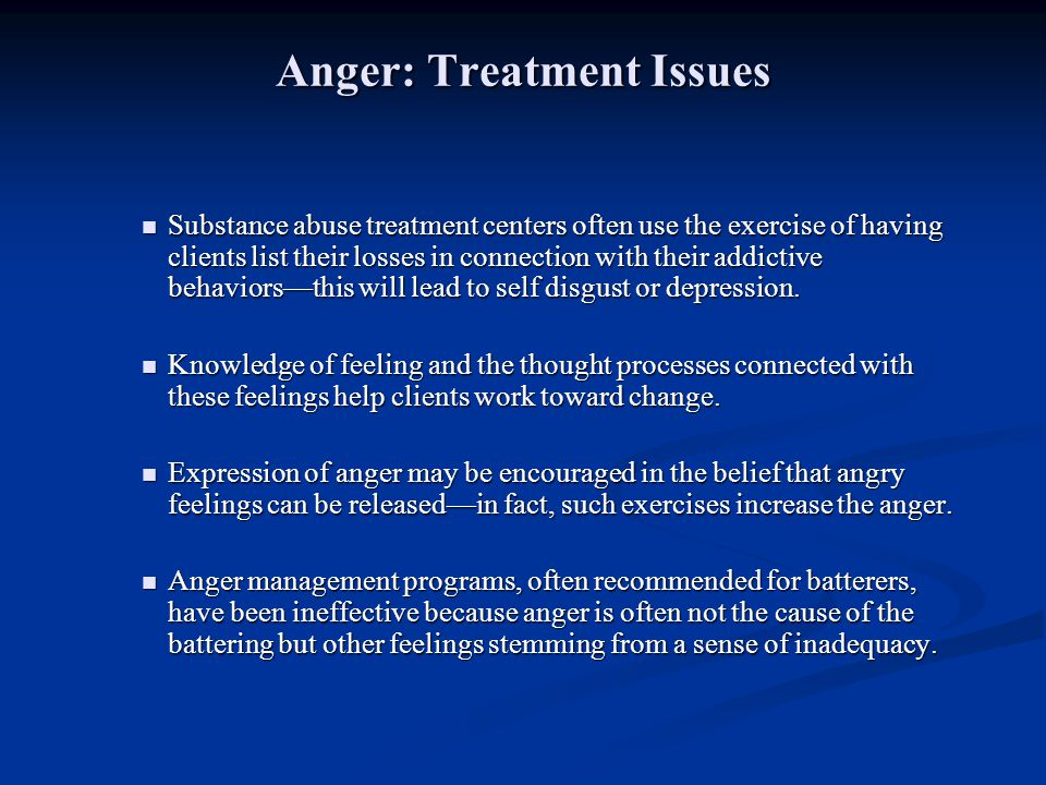 Anger: Treatment Issues