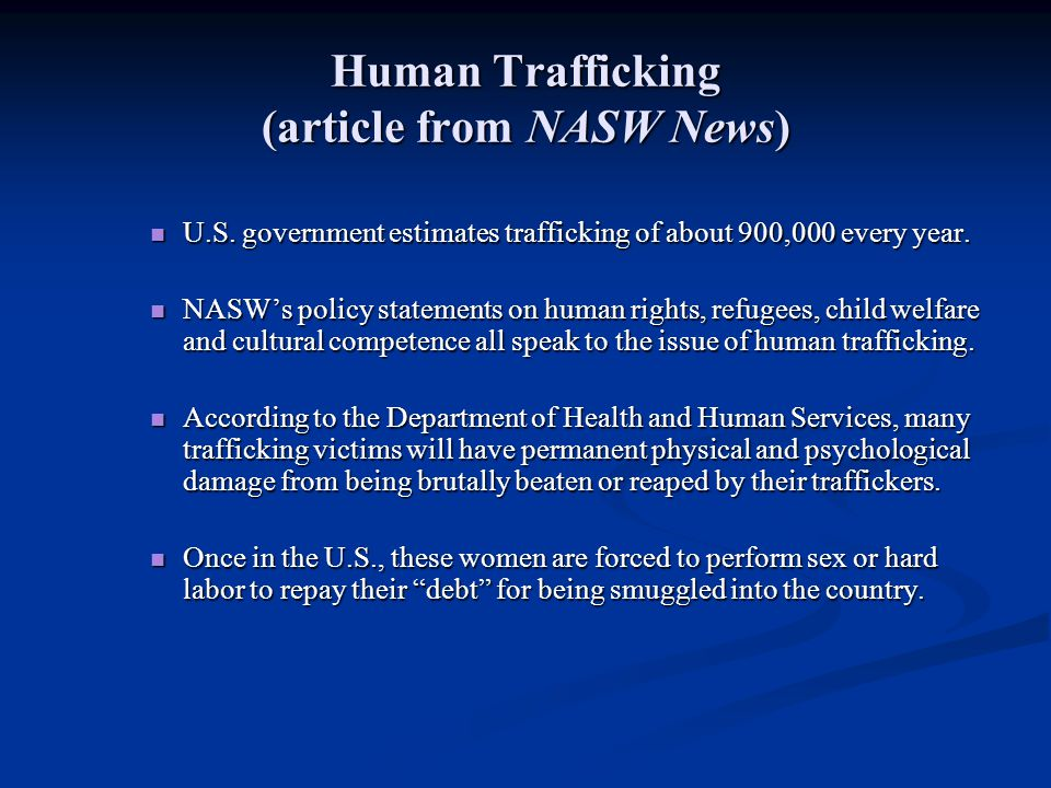 Human Trafficking (article from NASW News)