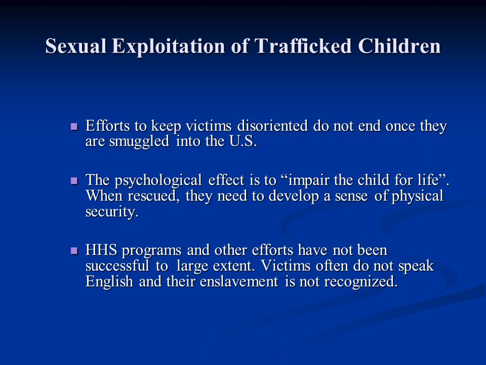 Sexual Exploitation of Trafficked Children
