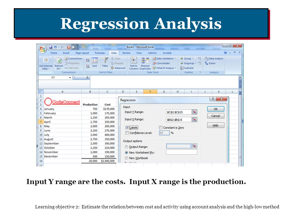 Regression Analysis Input Y range are the costs. Input X range is the production.