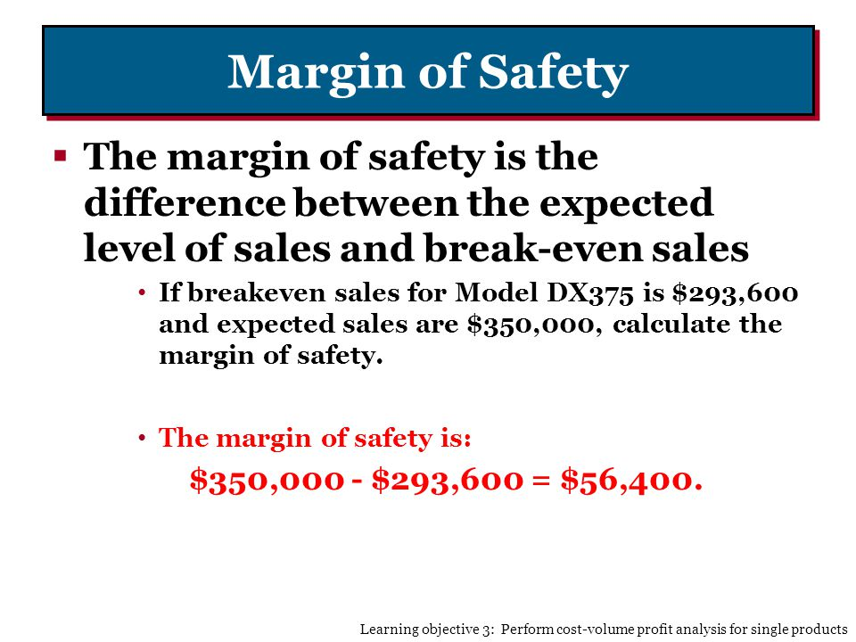 Margin of Safety The margin of safety is the difference between the expected level of sales and break-even sales.