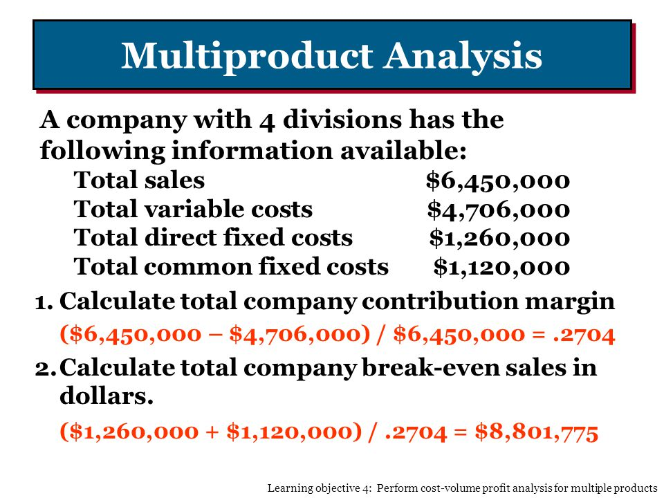 Multiproduct Analysis