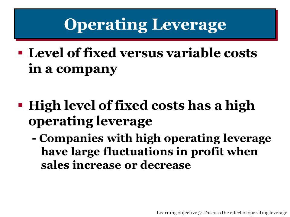 Operating Leverage Level of fixed versus variable costs in a company