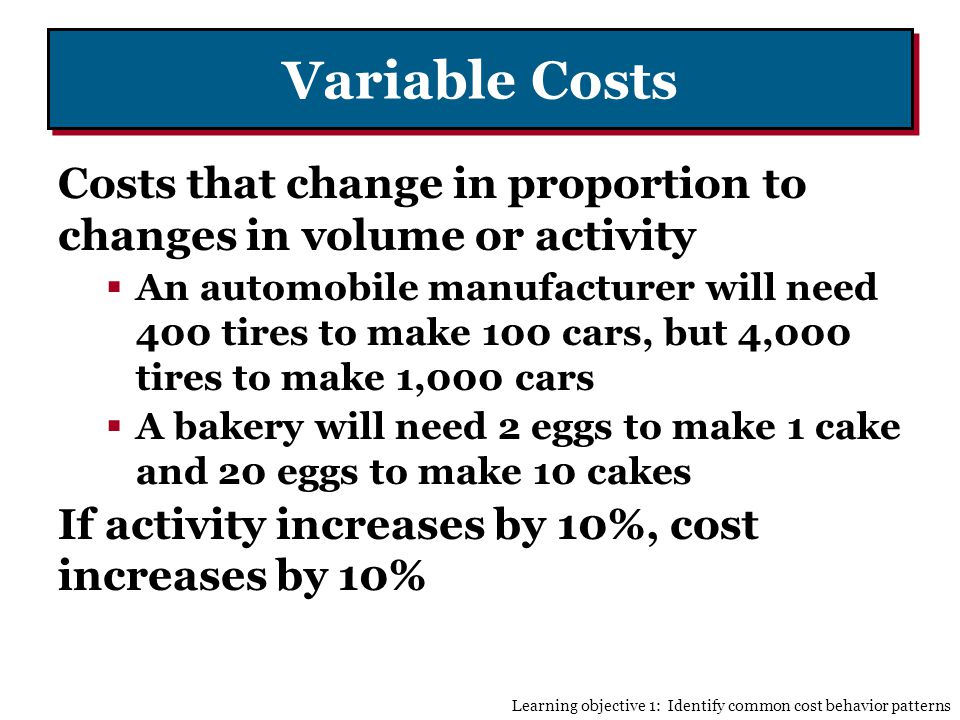 Variable Costs Costs that change in proportion to changes in volume or activity.