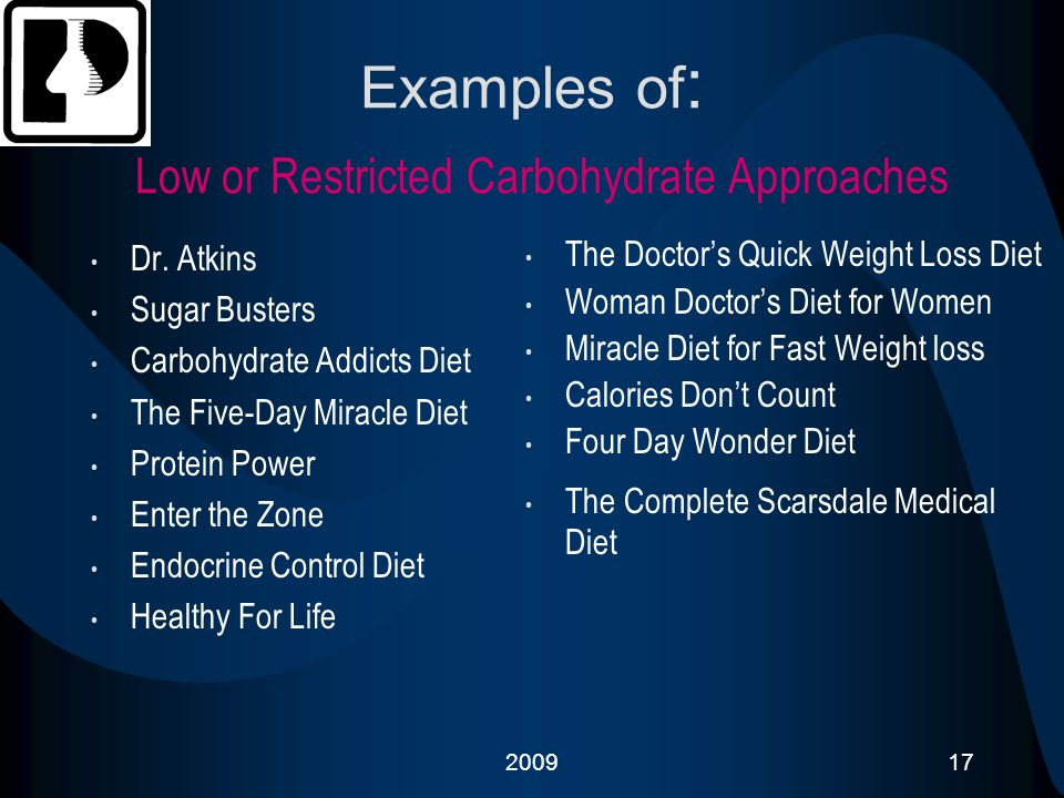 Examples of: Low or Restricted Carbohydrate Approaches
