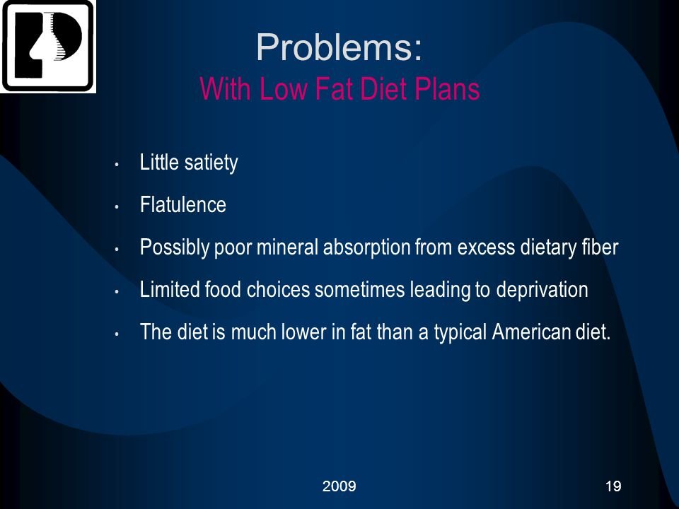 Problems: With Low Fat Diet Plans