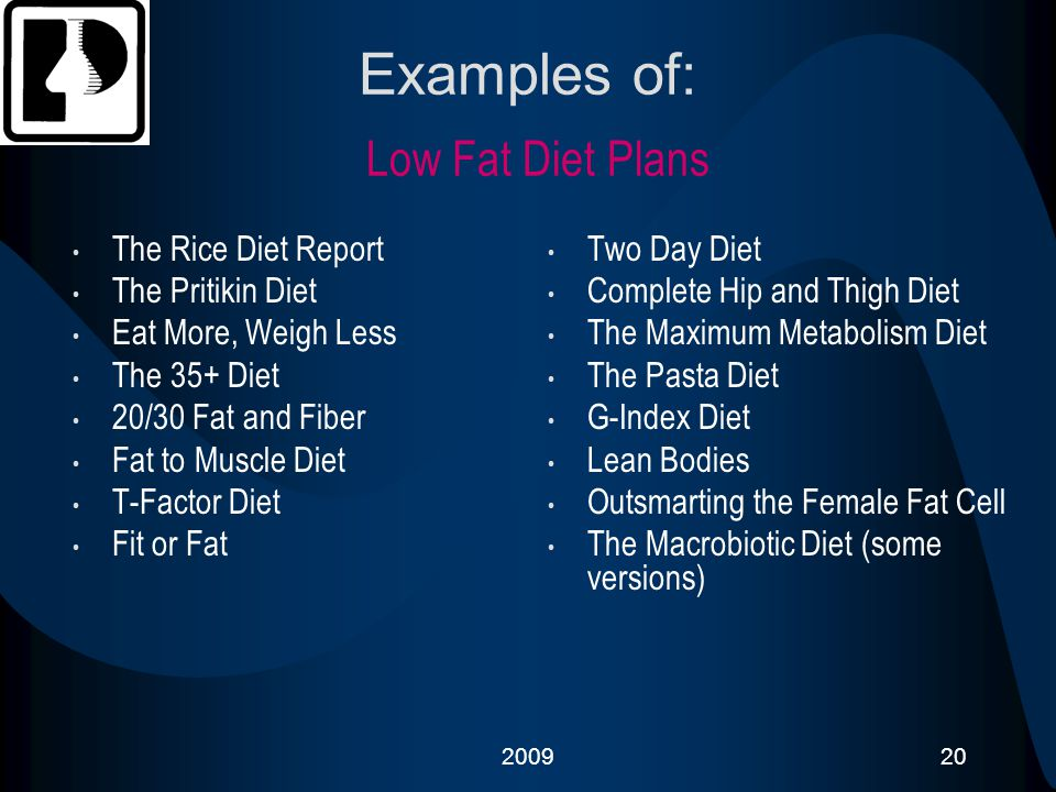Examples of: Low Fat Diet Plans