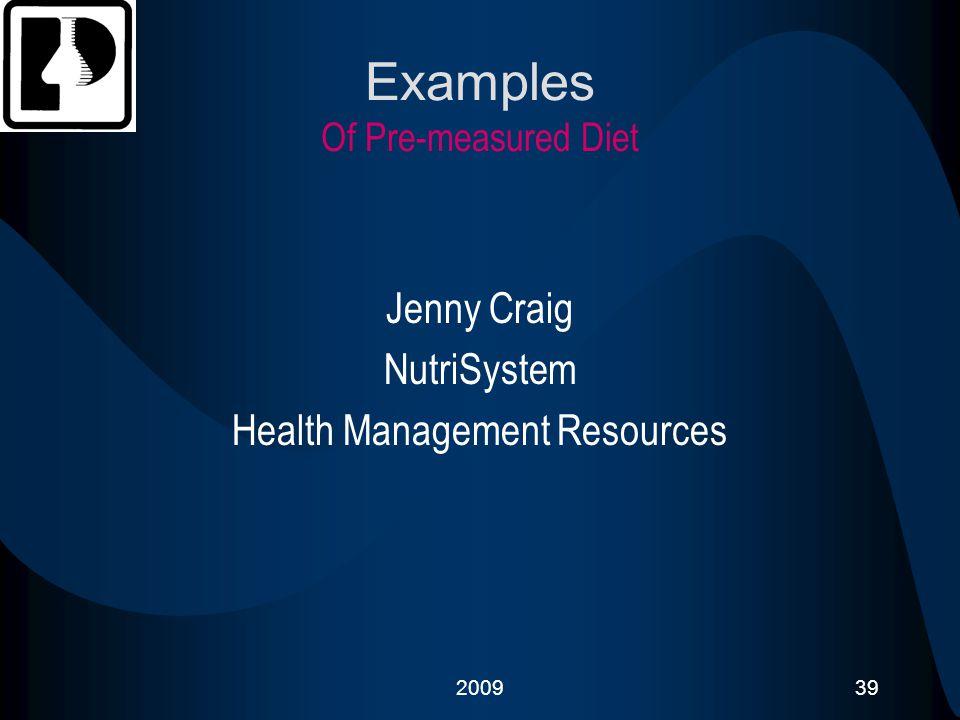 Examples Of Pre-measured Diet