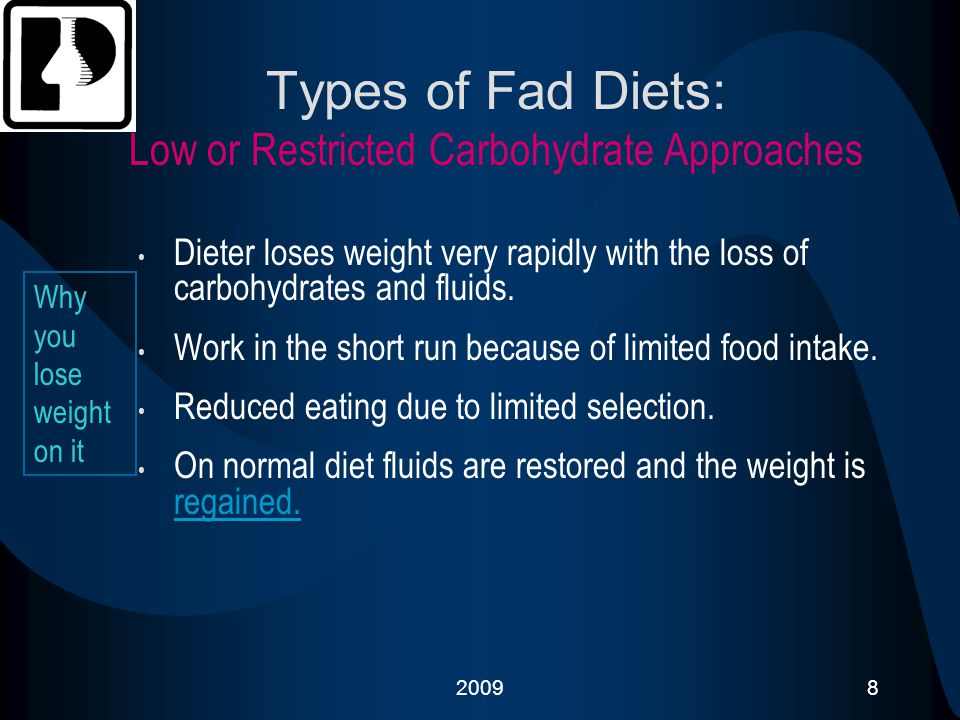 Types of Fad Diets: Low or Restricted Carbohydrate Approaches