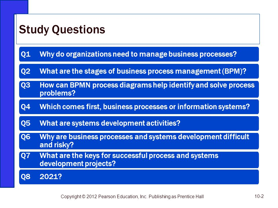 Study Questions Q1 Why do organizations need to manage business processes Q2 What are the stages of business process management (BPM)
