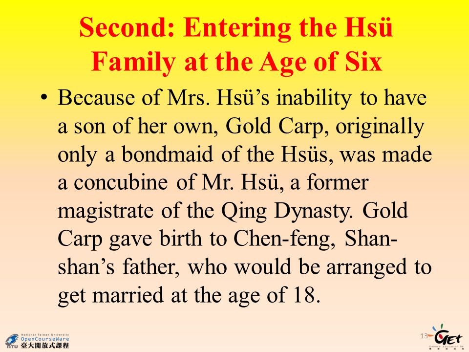 Second: Entering the Hsü Family at the Age of Six