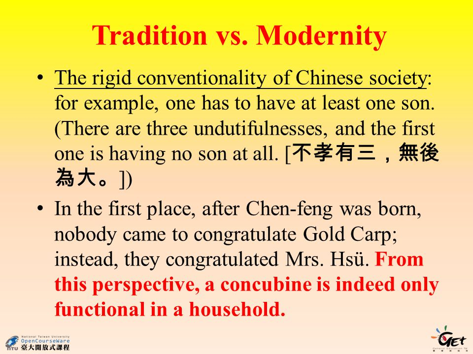 Tradition vs. Modernity