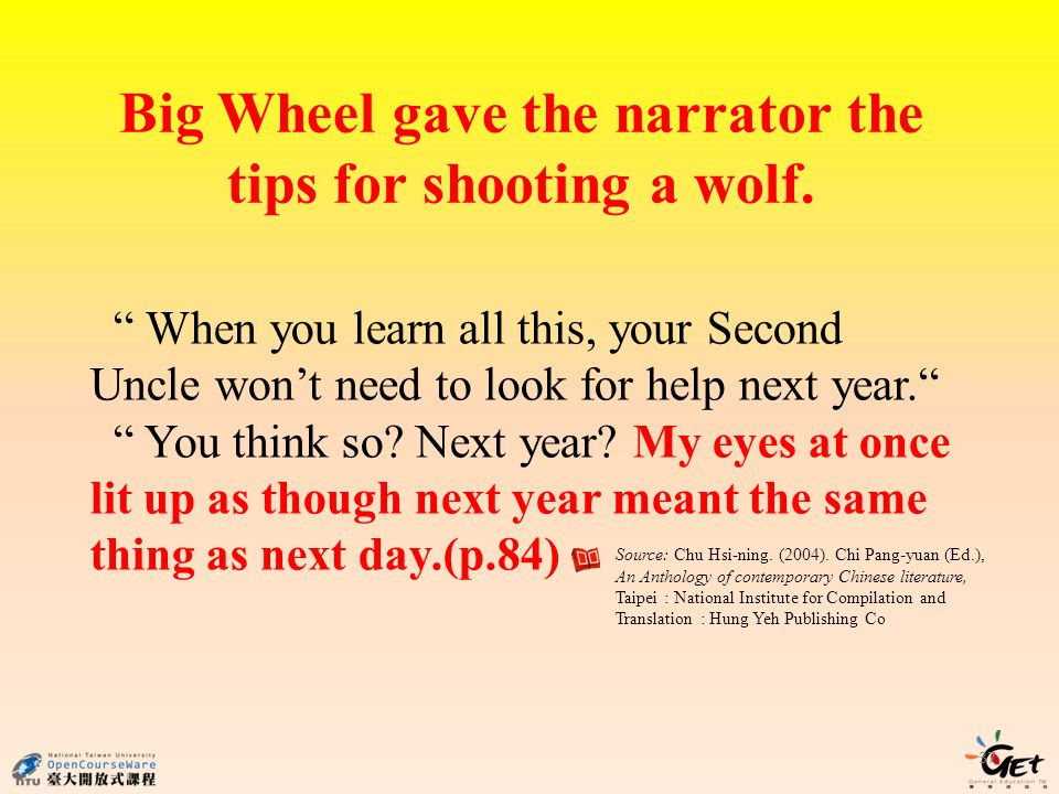 Big Wheel gave the narrator the tips for shooting a wolf.