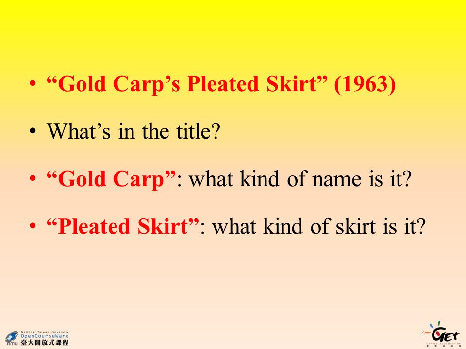 Gold Carp's Pleated Skirt (1963)