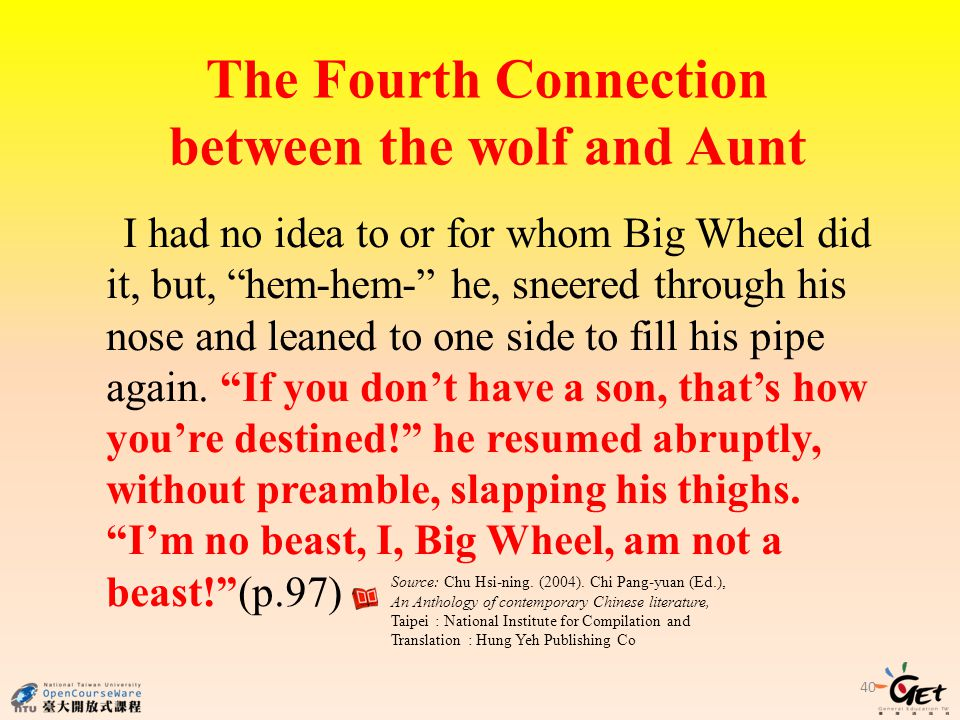 The Fourth Connection between the wolf and Aunt