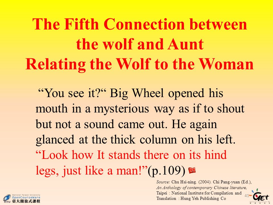 The Fifth Connection between the wolf and Aunt Relating the Wolf to the Woman
