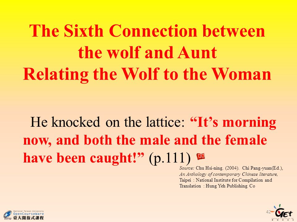 The Sixth Connection between the wolf and Aunt Relating the Wolf to the Woman