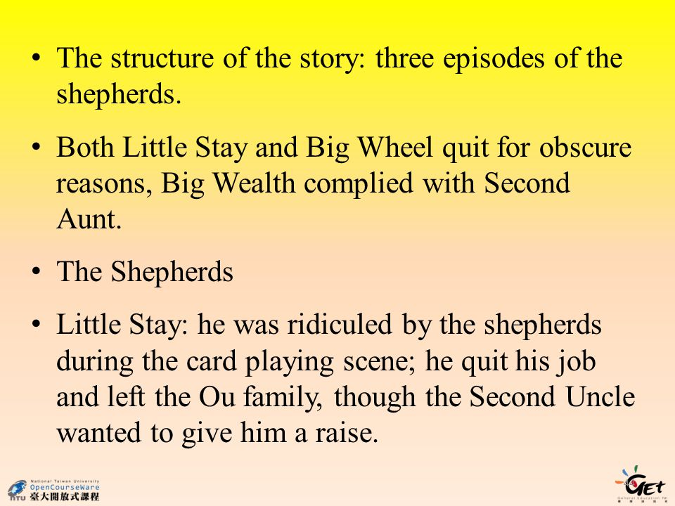 The structure of the story: three episodes of the shepherds.