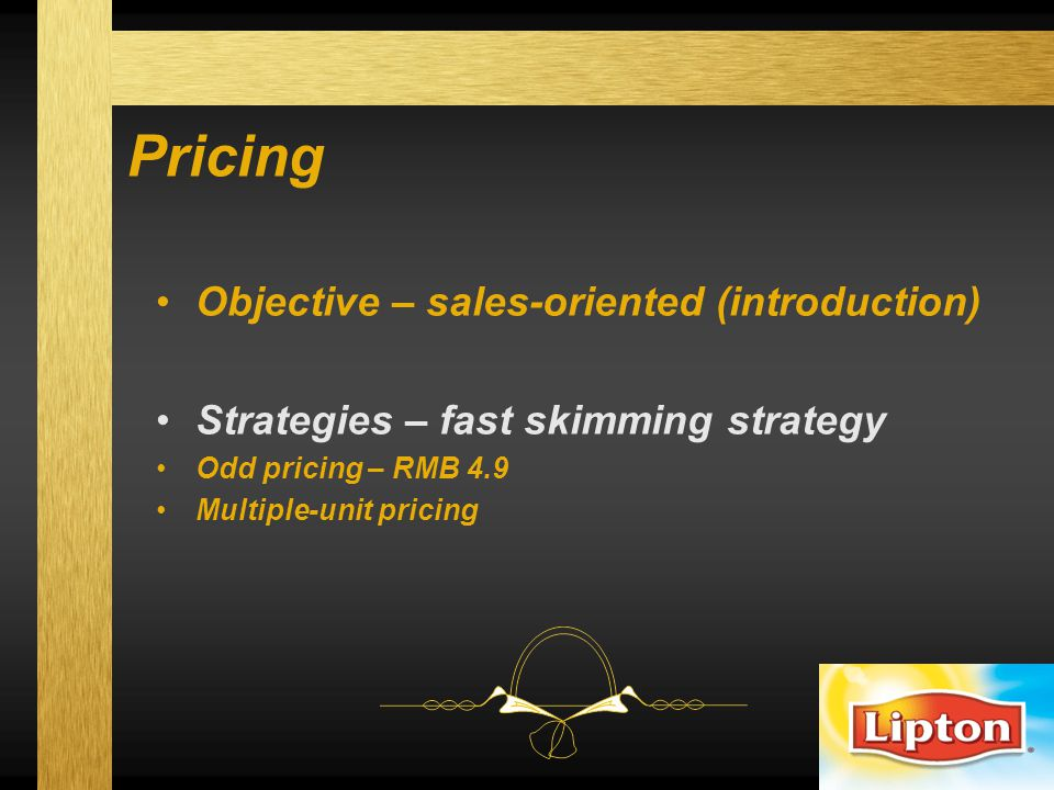 Pricing Objective – sales-oriented (introduction)