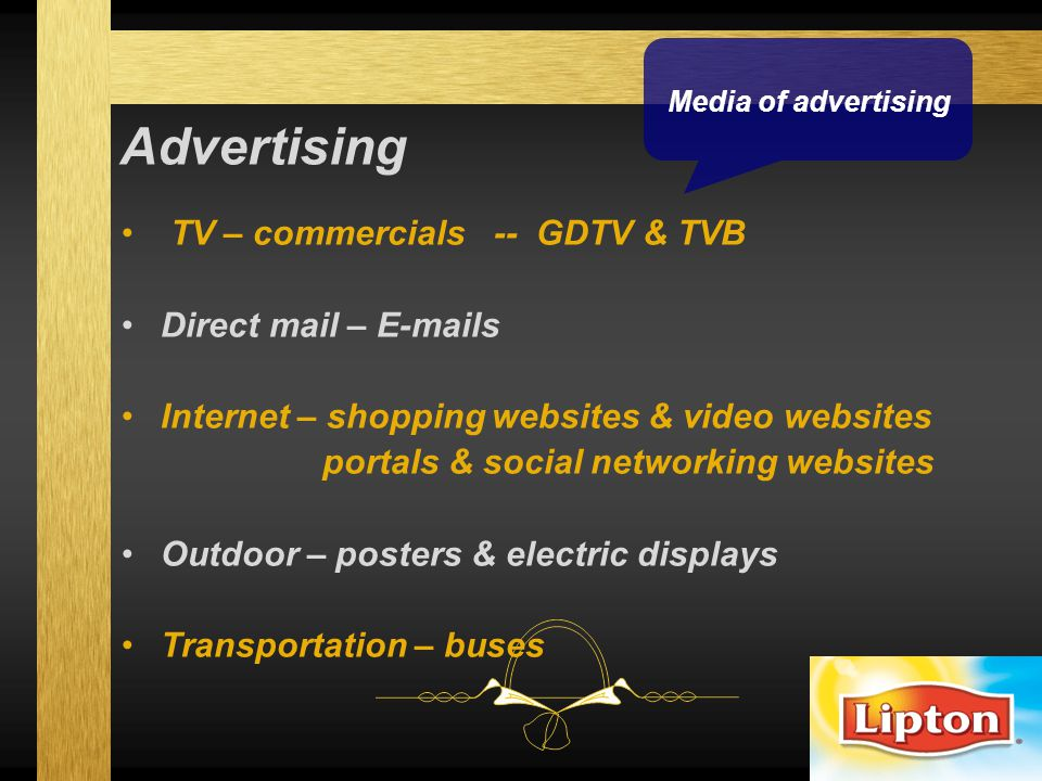 Advertising TV – commercials -- GDTV & TVB Direct mail – E-mails