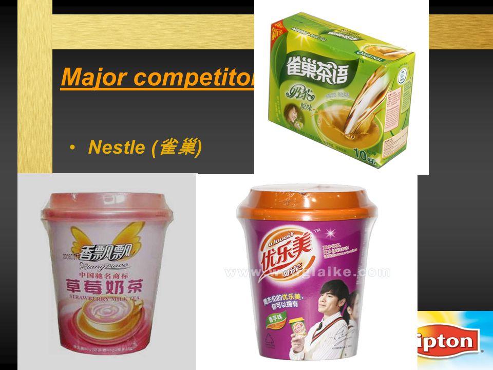 Major competitors Nestle (雀巢) XiangPiaoPiao (香飘飘) u.loveit (优乐美)