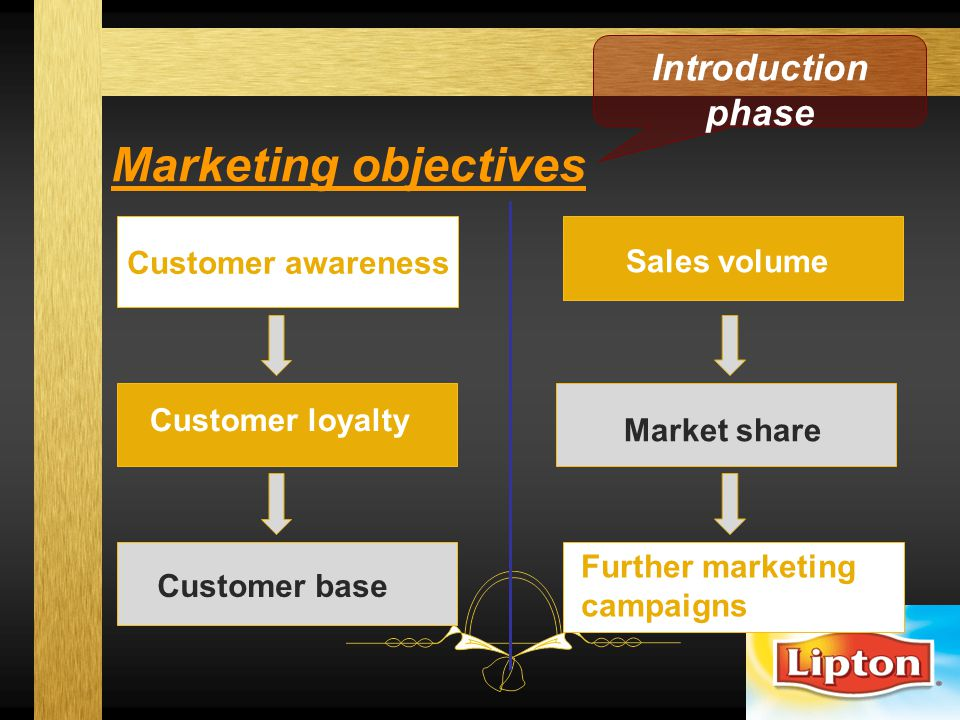 Marketing objectives Introduction phase Customer awareness