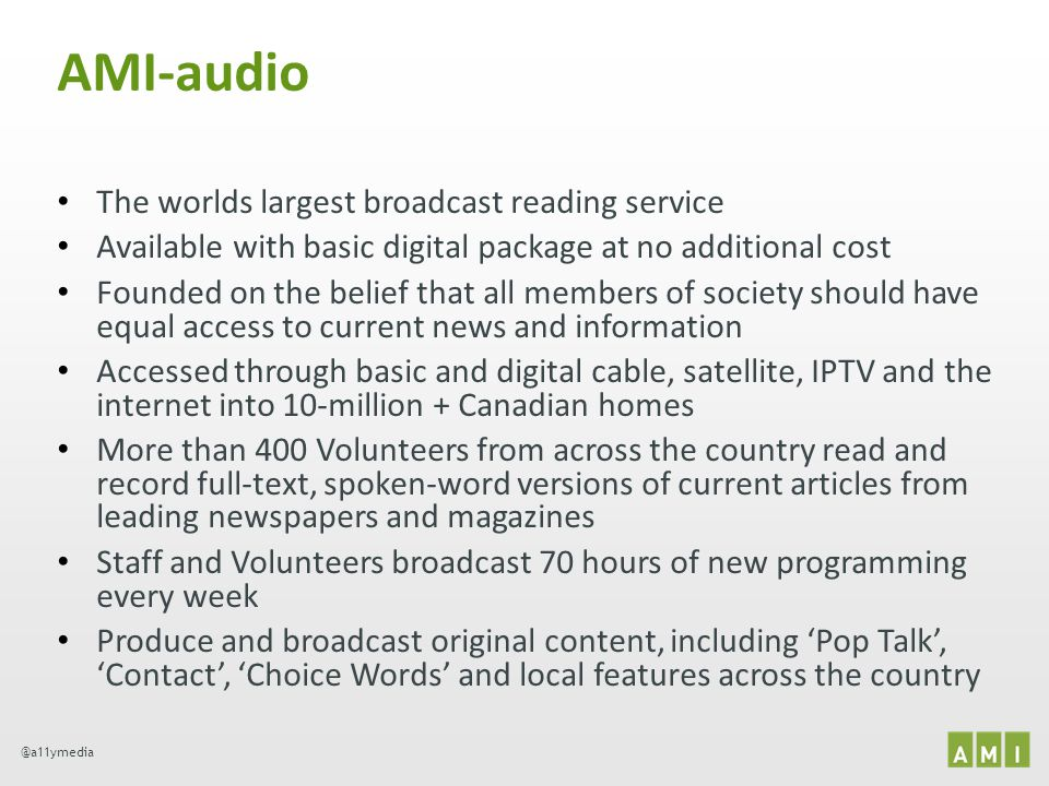 AMI-audio The worlds largest broadcast reading service