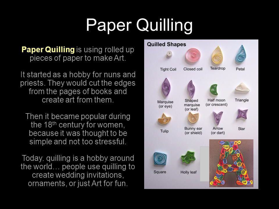 Paper Quilling is using rolled up pieces of paper to make Art.