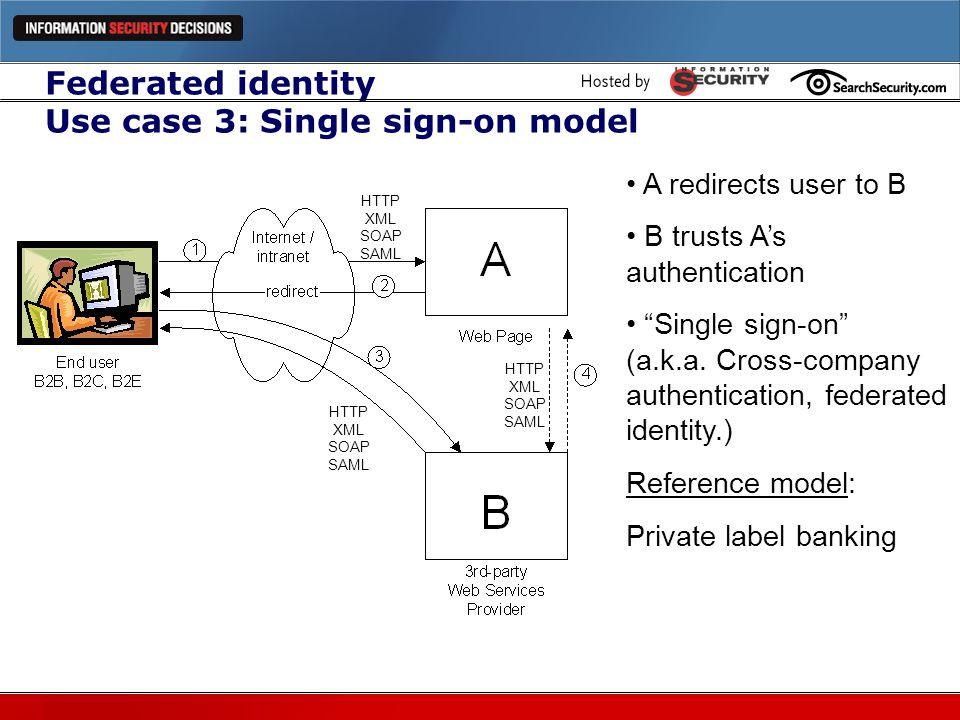 Federated identity Use case 3: Single sign-on model