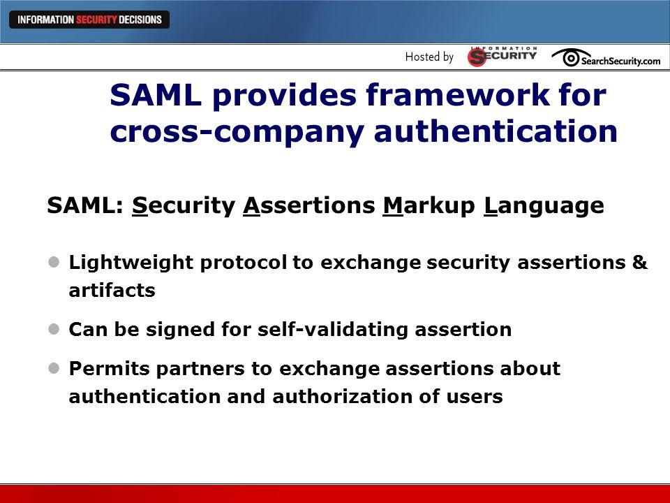SAML provides framework for cross-company authentication
