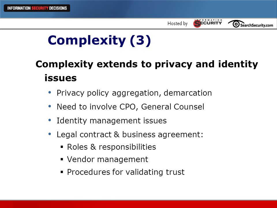 Complexity (3) Complexity extends to privacy and identity issues