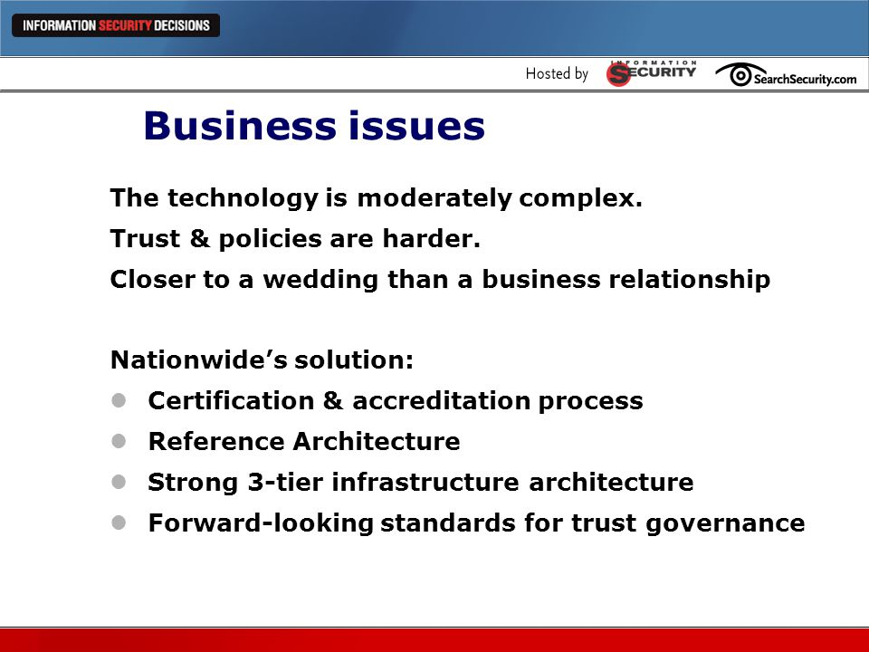Business issues The technology is moderately complex.