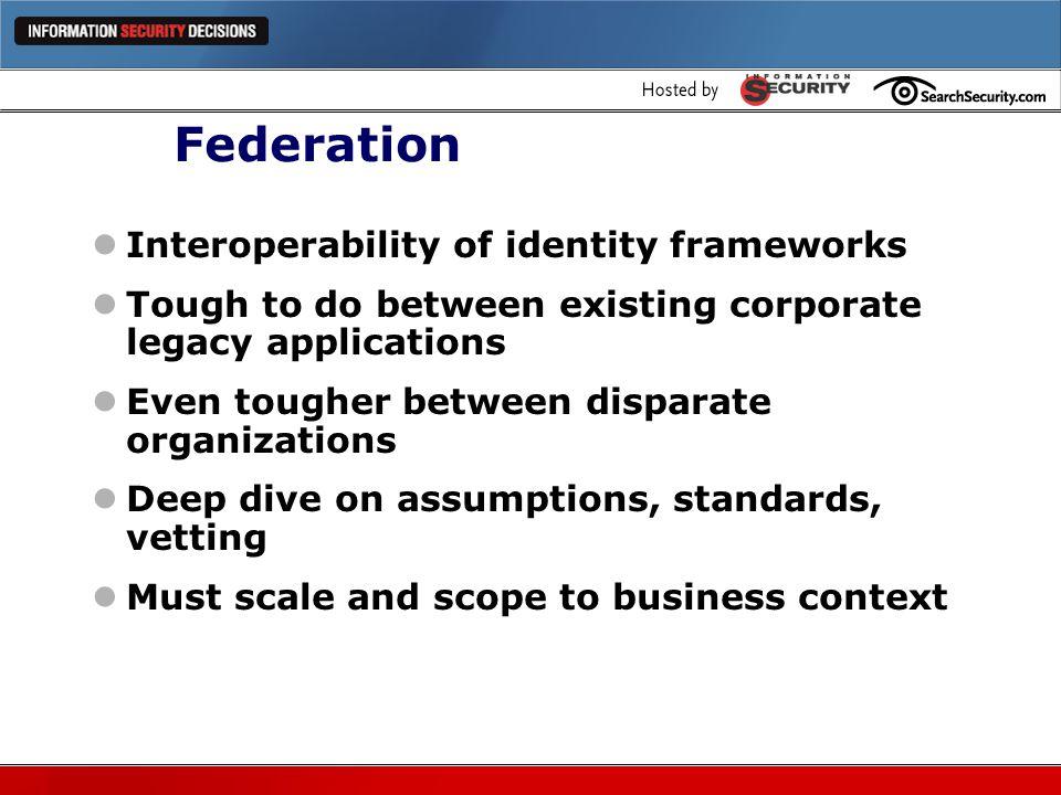 Federation Interoperability of identity frameworks