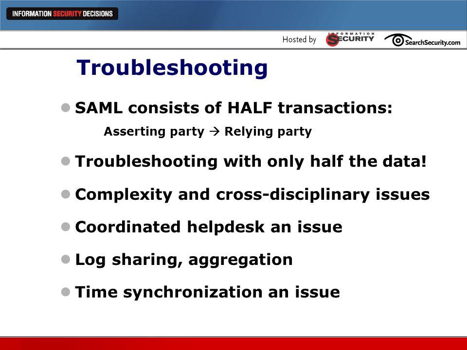 Troubleshooting SAML consists of HALF transactions:
