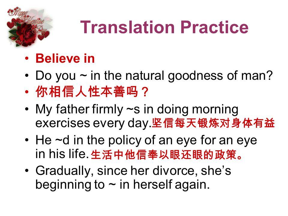 Translation Practice Believe in