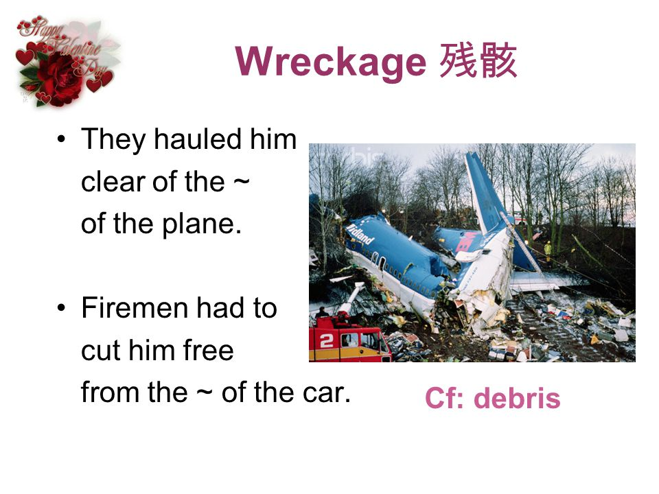Wreckage 残骸 They hauled him clear of the ~ of the plane.