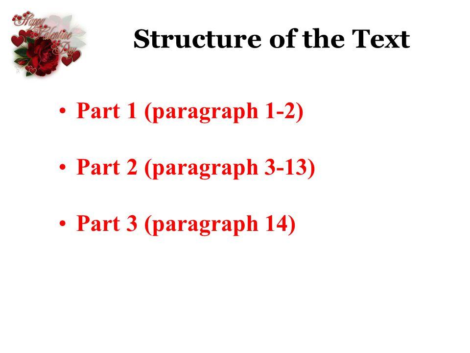 Structure of the Text Part 1 (paragraph 1-2) Part 2 (paragraph 3-13)