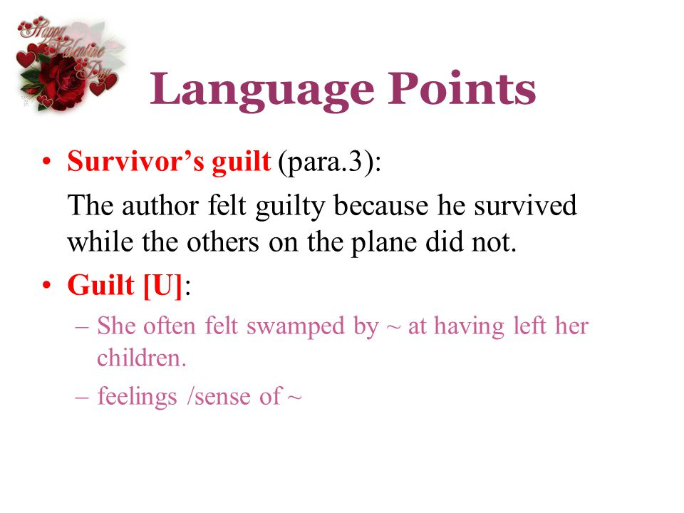 Language Points Survivor's guilt (para.3):