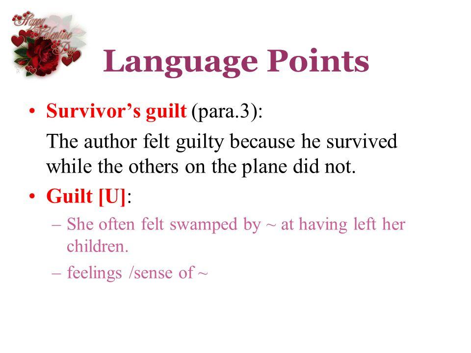 Language Points Survivor's guilt (para.3):