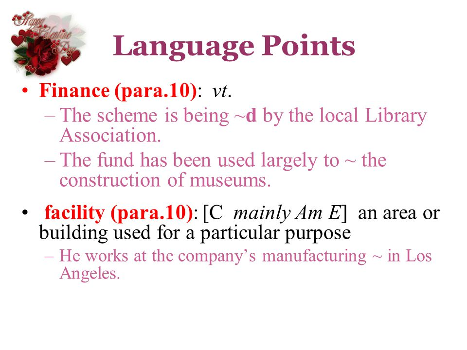 Language Points Finance (para.10): vt.