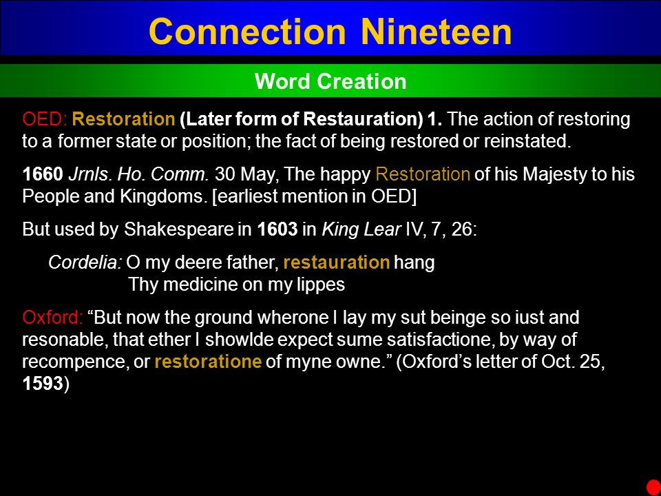 Connection Nineteen Word Creation