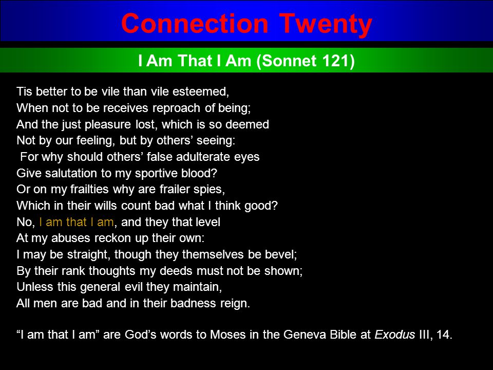 Connection Twenty I Am That I Am (Sonnet 121)