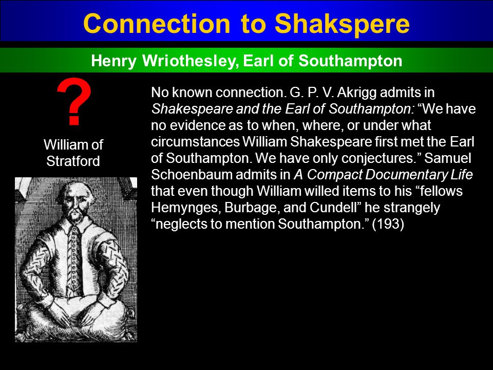 Connection to Shakspere Henry Wriothesley, Earl of Southampton