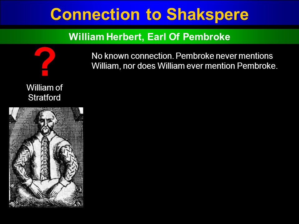 Connection to Shakspere William Herbert, Earl Of Pembroke
