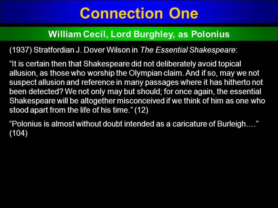 William Cecil, Lord Burghley, as Polonius