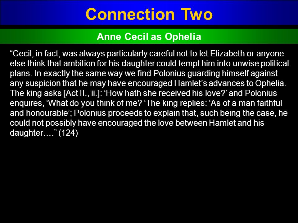 Connection Two Anne Cecil as Ophelia
